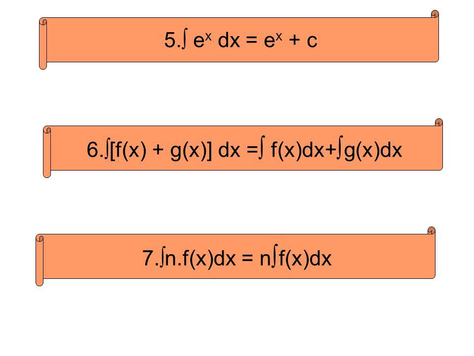 6.∫[f(x) + g(x)] dx =∫ f(x)dx+∫g(x)dx
